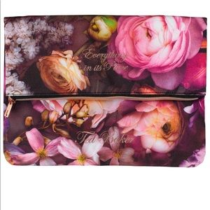 Ted Baker Shadow Floral Fold Over Soft Bag NEW